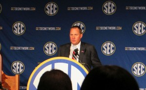 Coach Freeze addresses the media gathered for SEC Media Days.