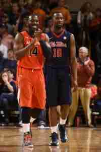 LaDarius White led all scorers for the Rebels with 20 points in the win over Auburn. (Photo credit: Zach Bland, Auburn Athletics)