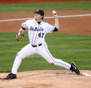 Christian Trent pitched 6.1 innings against the Gators, giving up just one run.
