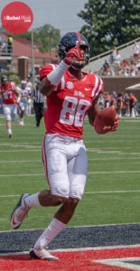 WR Cody Core caught two passes for 80 yards and one touchdown September 5, 2015. (Photo credit: Bentley Breland, The Rebel Walk)