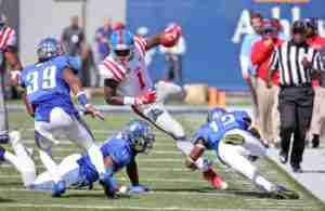 Laquon Treadwell had 14 catches for 144 yards in the loss to Memphis. (Photo credit: Joshua McCoy, The Rebel Walk)