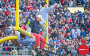 Following the win over Alabama, Ole Miss fans celebrated by tearing down the goalposts. (Photo credit: Bentley Breland)