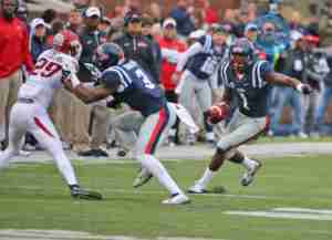 Laquon Treadwell had 7 catches for 132 yards in the loss to Arkansas. (Photo credit: Joshua McCoy, Ole Miss Athletics)