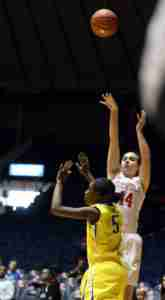 Torri Lewis finished with 10 points in the win over McNeese, including two 3-pointers. (Photo credit: Joshua McCoy, Ole Miss Athletics)