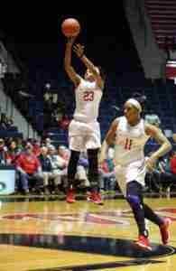Shandricka Sessom extended her streak of scoring in double figures to 15 games. (Photo credit: Joshua McCoy, Ole Miss Athletics)