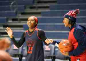 Ole Miss players were all smiles at their first practice inside the new arena. (Photo credit: Joshua McCoy, Ole Miss Athletics)