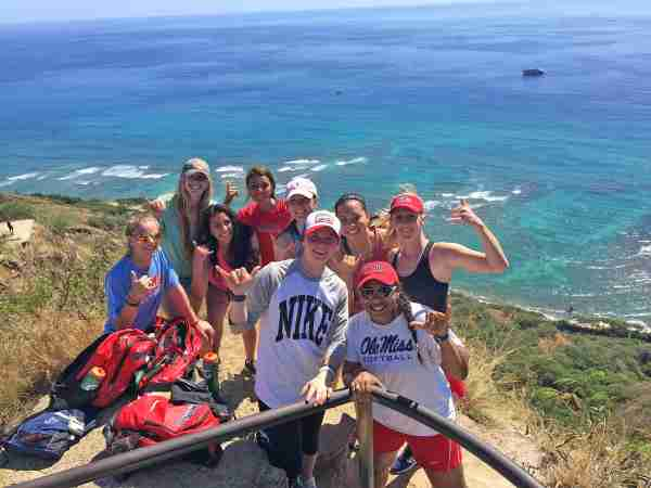 Ole Miss softball players had time to get in a little hiking during their recent trip to Hawaii. (Photo credit: Anna Kuzan, Ole Miss Athletics)