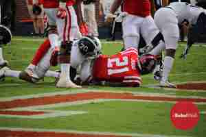 Akeem Judd goes in for the TD against Georgia Southern. (Photo credit: Mario Parham, The Rebel Walk)