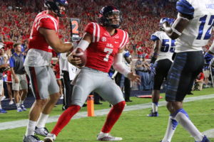 Jason Pellerin celebrates after scoring on a 1-yard TD run in the Rebels' win over Memphis. (Photo credit: Amanda Swain, The Rebel Walk)