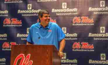 Coach Matt Luke holds Ole Miss Football Media Day Press Conference