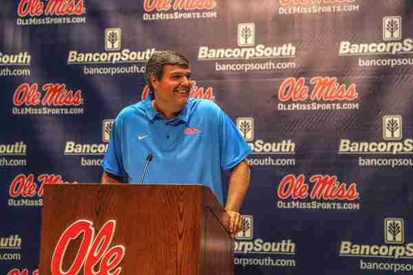 Coach Matt Luke holds Ole Miss Football Media Day Press Conference