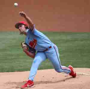 Ole Miss pitcher Doug Nikhazy in the Rebels' 13-5 win over Arkansas.