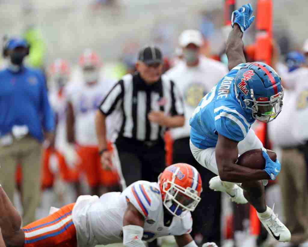 Elijah Moore makes a reception against Florida